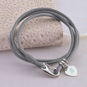 Personalised Sterling Silver And Leather Wrap Bracelet - bracelets & bangles