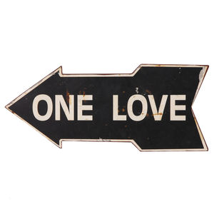 One Love Metal Arrow Sign