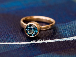 London Blue Topaz Rose Gold Ring - unique engagement rings
