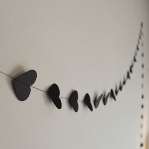 Small Black Valentines Hearts Paper Garland - decorations
