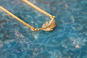 Gold Plated Leaf Charm Necklace - necklaces & pendants