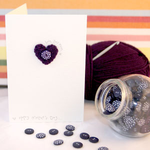 Crochet Heart 'Love You Mum' Card