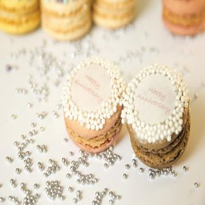 Gift Box Of 12 Happy Anniversary French Macarons - edible favours