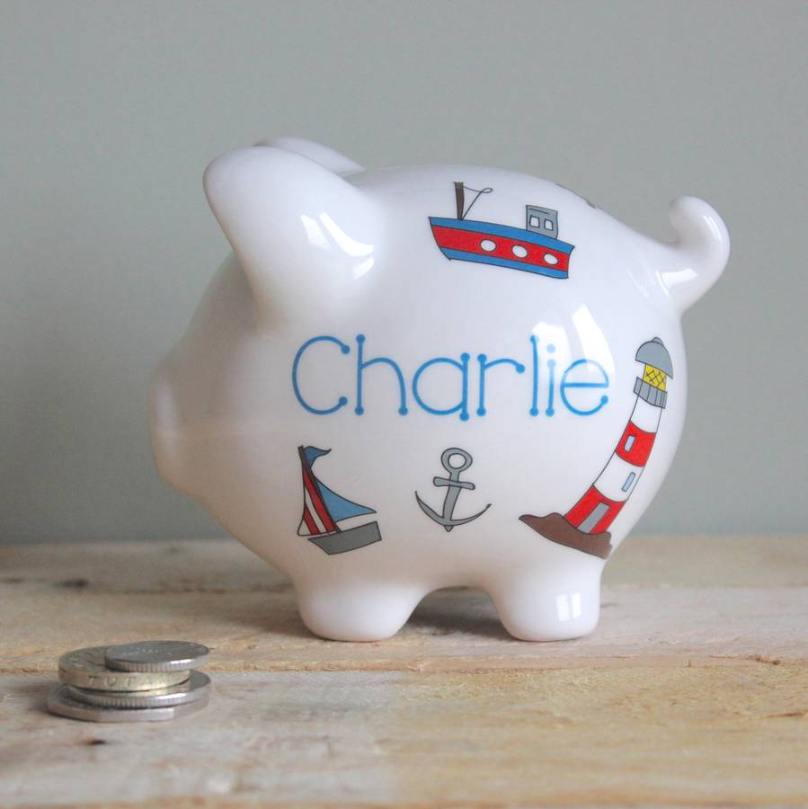 Personalised piggy bank for boys by sparkle ceramics - Nautical piggy bank ...