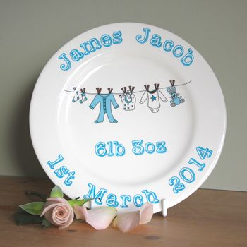 New baby christening plate - china in blue for boys with washing line design