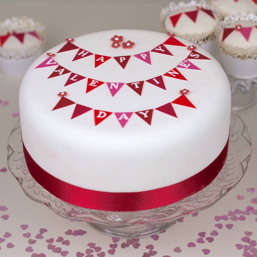 personalised valentine\'s bunting cake kit by clever little cake kits ...