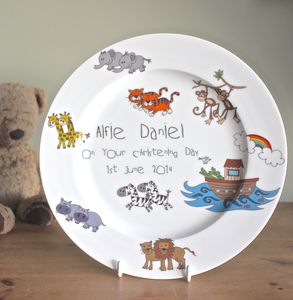 Personalised Noah's Ark Christening Or Birth Plate