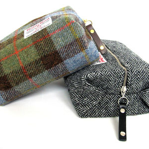 Men's Harris Tweed Toiletry Bag - gifts for fathers