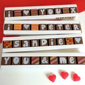 Personalised Chocolates In A Stick Box
