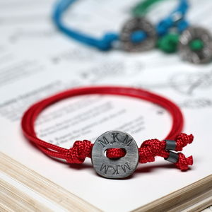 Personalised Men's Organic Button Coloured Bracelet