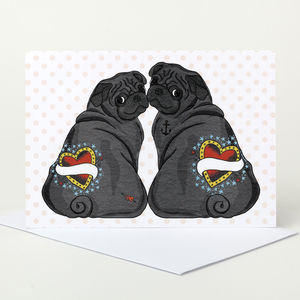 Customisable Black Pug Wedding Card - blank cards