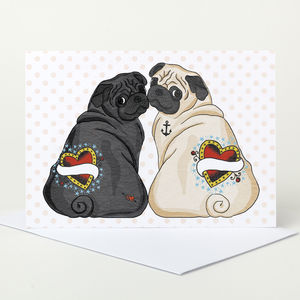Customisable Black And Fawn Pug Card