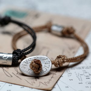 Personalised Men's Pebble Button Bracelet