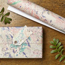 Two Pk Marbled Peacock Gift Wrap Set
