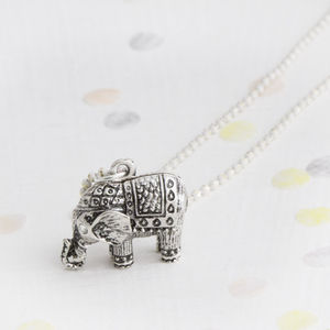 Helena Personalised Silver Plated Elephant Necklace