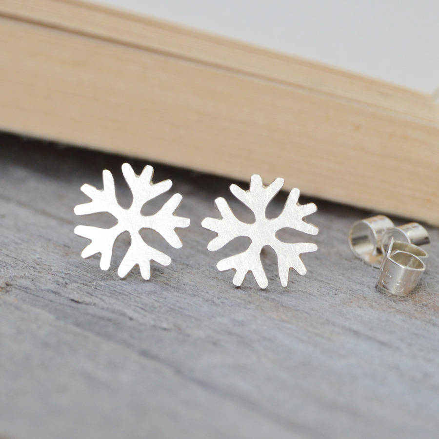 Snowflake Earring Studs In Sterling Silver