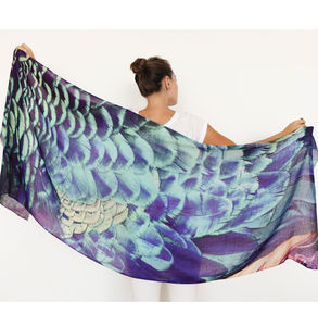 Peacock Cashmere Printed Shawl Scarf - 60th birthday gifts