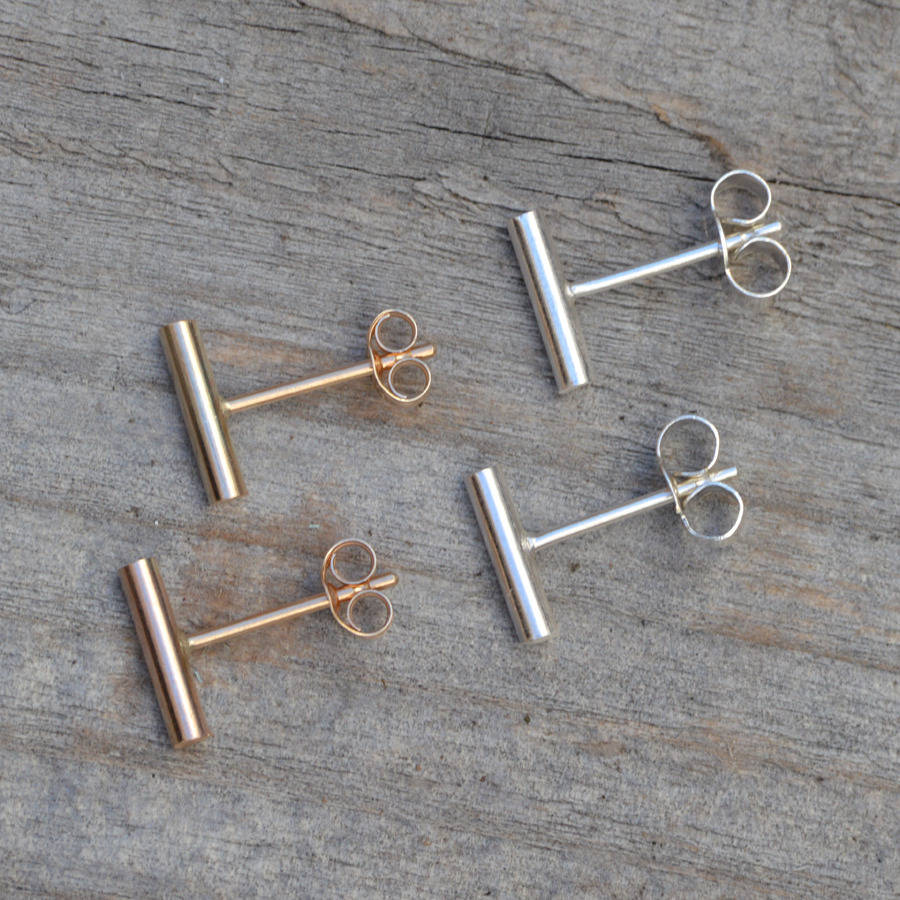 Simple Bar Earring Studs In 9ct Yellow Gold And Sterling Silver