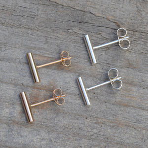 Simple Bar Earring Studs In Sterling Silver - earrings