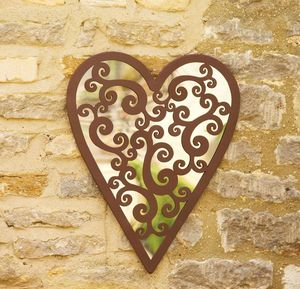 Antique Effect Heart Garden Mirror - mirrors
