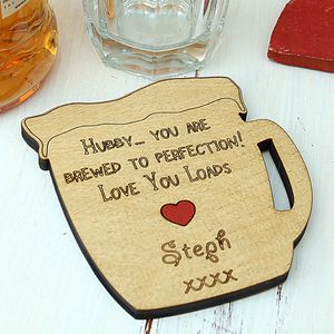 Personalised Message Beer Mug Coaster - gifts for him