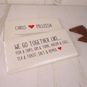 We Go Together Personalised Chocolate Bar - for him