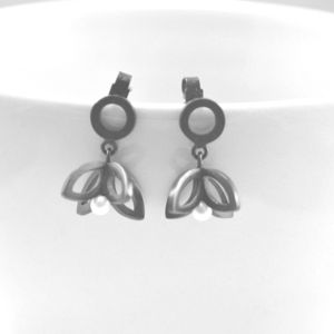 Silver Double Bud Earrings
