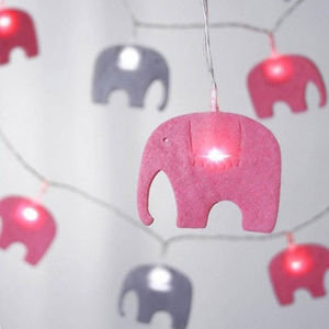 Battery Felt Elephant String Lights