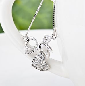 Heart And Bow Silver Necklace - necklaces & pendants