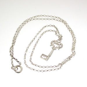 Silver Heritage Key Pendant With 18' Silver Chain - gifts for her