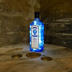 Upcycled Bombay Sapphire Bottle Lamp - table & floor lamps