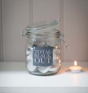 Total Blackout Storage Jar With 28 Tealight Candles - candles & candlesticks