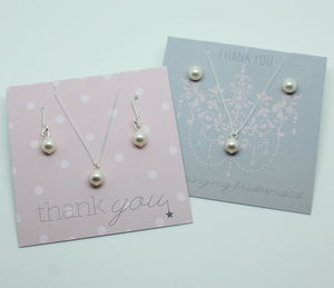 Bridesmaids Pearl Pendant And Earring Gift Set - jewellery sets
