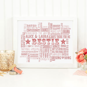 Personalised 'Bestie' Best Friend Art Print
