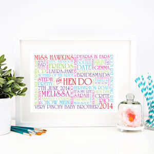 Personalised 'Hen Do' Memories Print - 100 best prints for weddings & anniversaries