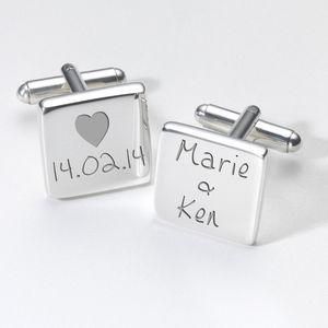Personalised Love Heart Valentines Day Cufflinks - personalised