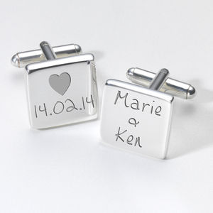 Personalised Love Heart Valentines Day Cufflinks