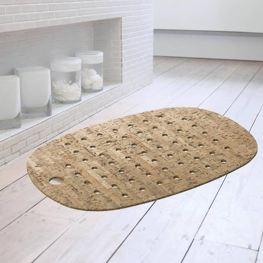Cork And Rubber Bath Mat With Natural Veneer