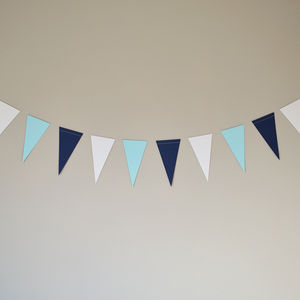 Blue And White Paper Bunting - baby's room