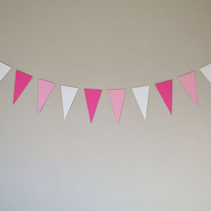 Pink And White Paper Bunting - baby's room