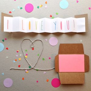 I Love You Concertina Card - anniversary cards
