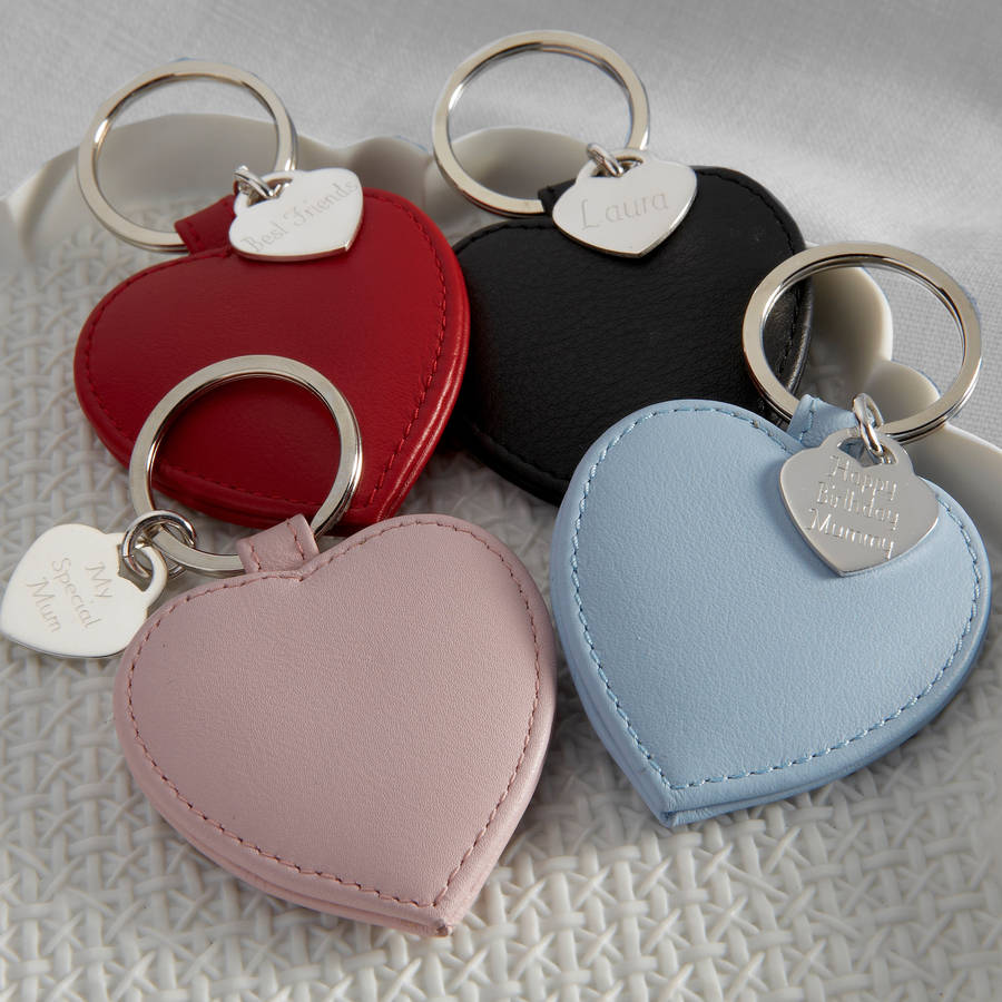 Personalised Sterling Silver Heart And Leather Keyring By