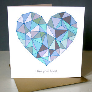 Personalised Geo Heart Valentines Card - wedding cards