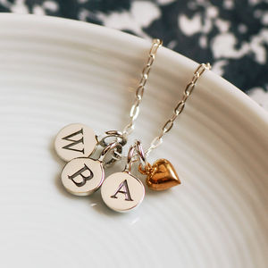 Round Initial Necklace With Heart Charm