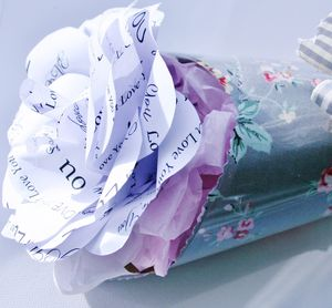 'Love You' Paper Wrapped Rose - fresh & alternative flowers