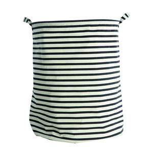Nautical Striped Handled Laundry Basket / Bag L - living room