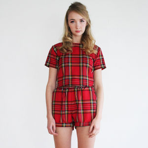 Jodie Red Tartan Co Ord - tops & t-shirts