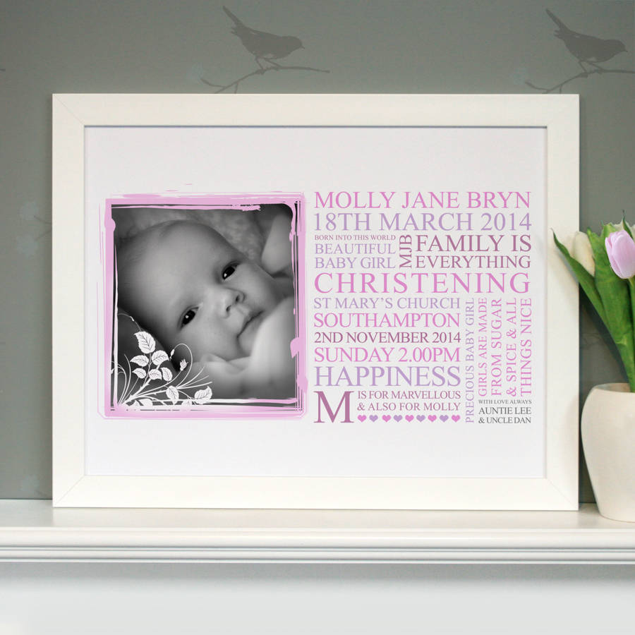 personalised baby christening art gift by cherry pete ...