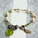 Cream Pearl And Leaf Bracelet