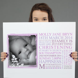 Personalised Baby Christening Art Gift - posters & prints for children